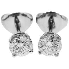 Harry Winston Platinum Solitaire Round GIA Diamonds Earrings