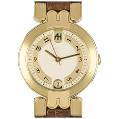 Harry Winston Premier Automatic Date Ladies 18 Karat Yellow Gold Silver Dial