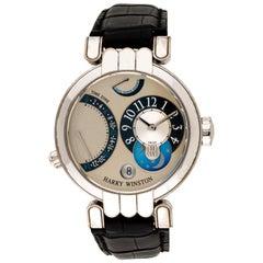 Harry Winston Premier Excenter Watch 18 Karat White Gold