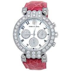 Harry Winston Premiere 18k White Gold Dimond Bezel Quartz Ladies Watch 200UCQ32W
