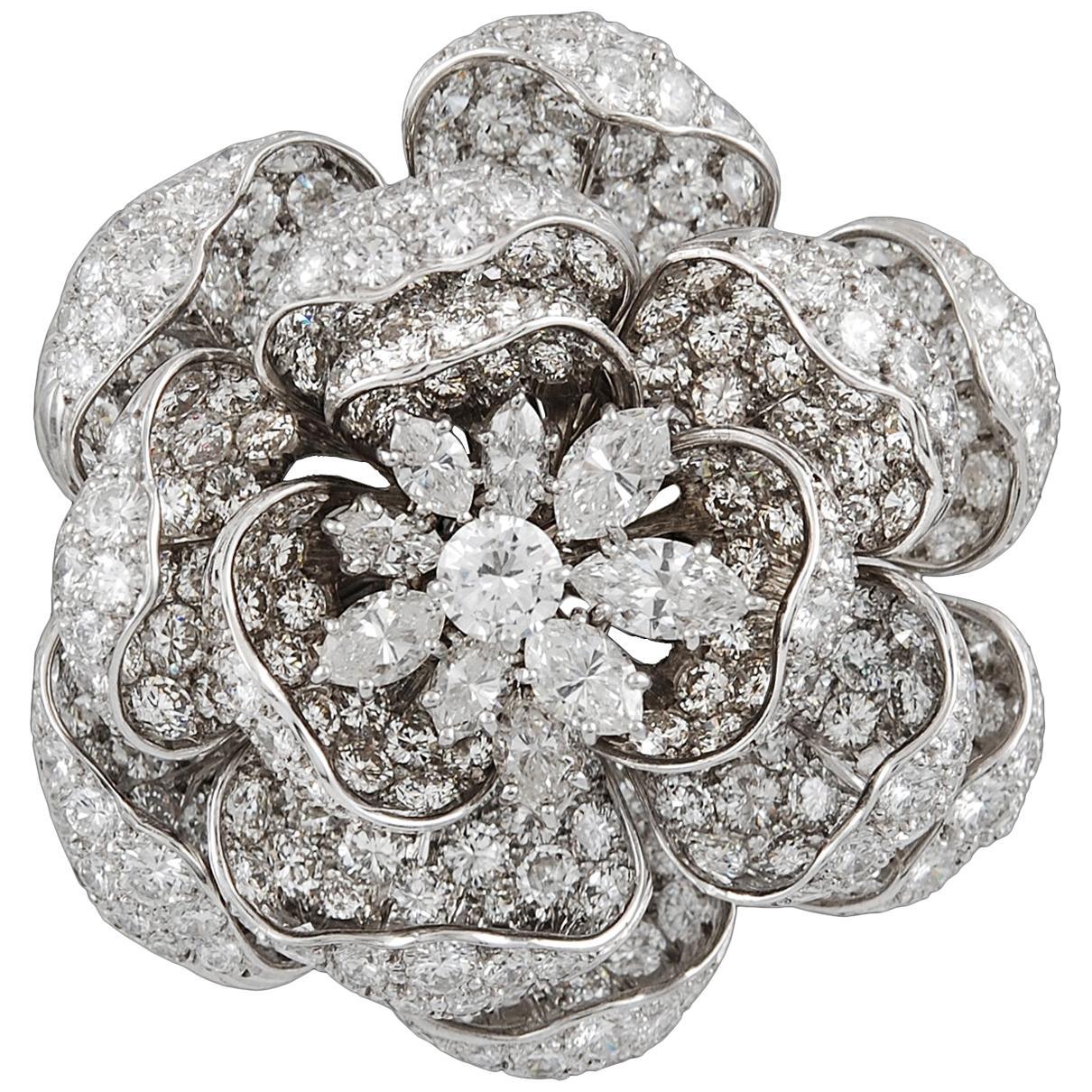 """Harry Winston Diamond Platinum """"Rose of England"""" Brooch"""
