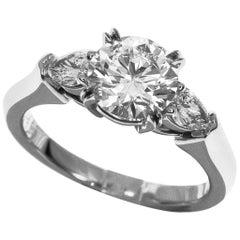 Harry Winston Round Brilliant Engagement Ring Platinum Pear Shaped Side Stones
