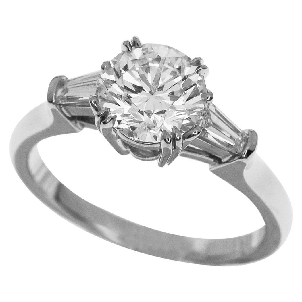 Harry Winston Round Shape 1.02 Carat Diamond Platinum Classic Ring