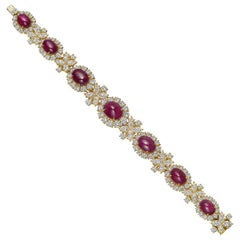 Harry Winston Ruby and Diamond Cluster Bracelet