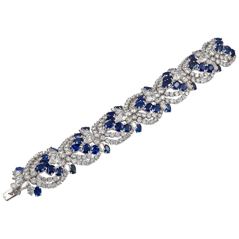 Harry Winston Sapphire Diamond Articulated Bracelet For Sale