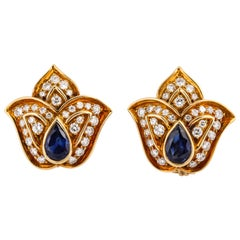 Harry Winston Sapphire Diamond Yellow Gold Tulip Earrings