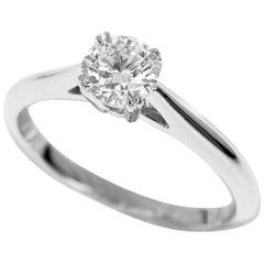 Harry Winston Solitaire 0.57 Carat Round Brilliant Diamond Platinum Ring US 6