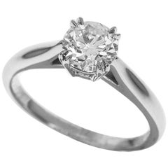 Harry Winston Solitaire 0.70 Carat GIA Diamond Round Brilliant Platinum Ring