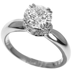 Harry Winston Solitaire 1.10 Carat Diamond Platinum Collar Engagement Ring