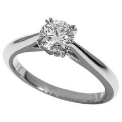 Harry Winston Solitaire Diamond Round Brilliant Platinum Engagement Ring
