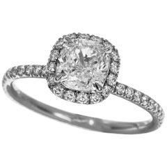 Harry Winston The One Cushion Cut 1.00 Carat Diamond Platinum Micropavé Ring