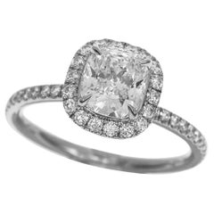 Harry Winston The One Cushion Cut 1.13 Ct D IF Diamond Micropavé Platinum Ring