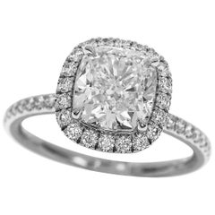 Harry Winston the One Cushion Cut 1.81 Carat Diamond Platinum Micropave Ring
