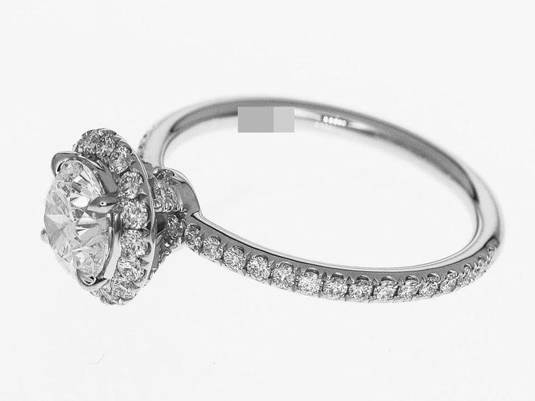 Harry Winston the One Round Brilliant Diamond Micropavé Platinum Ring US 4.25 For Sale 1