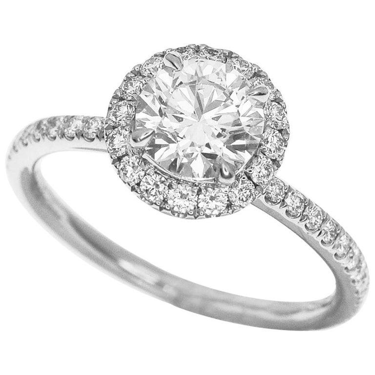 Harry Winston the One Round Brilliant Diamond Micropavé Platinum Ring US 4.25 For Sale