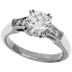 Harry Winston Tryst Round Brilliant 0.71 Carat Diamond Engagement Platinum Ring