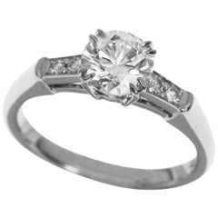 Harry Winston Tryst Round Brilliant 0.74 Carat Diamond Platinum Engagement Ring
