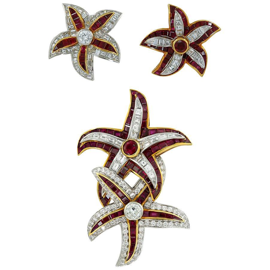 Harry Winston Ruby Diamond Yellow Gold Starfish Convertible Suite