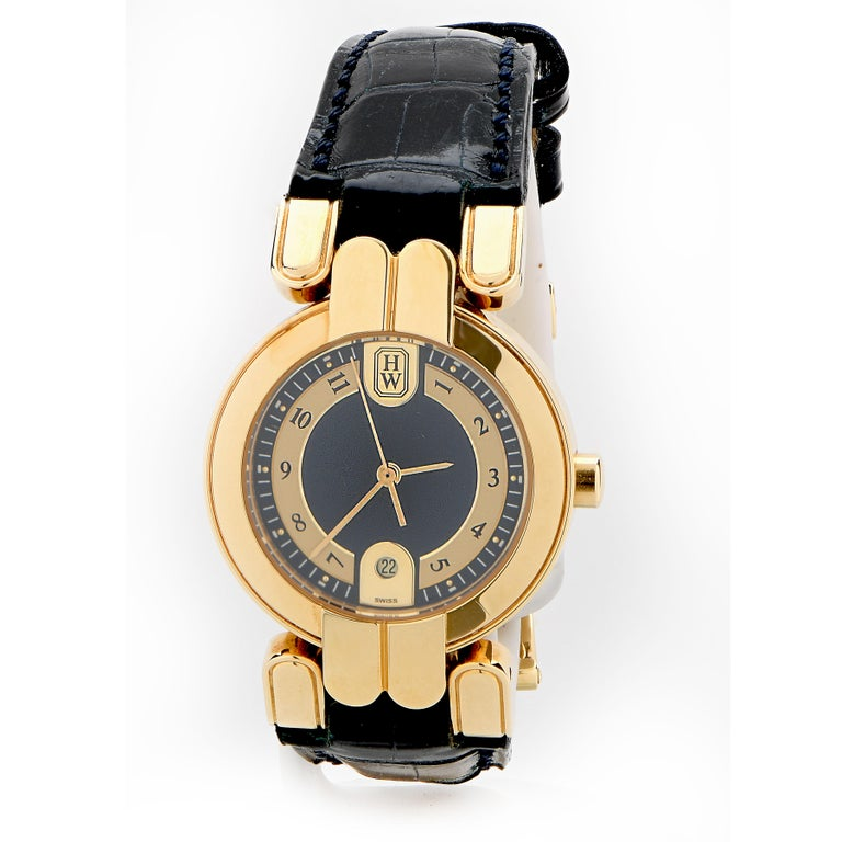 Modern Harry Winston Vintage Never Been Worn Lady's Premier 18 Karat Yellow Gold Watch For Sale