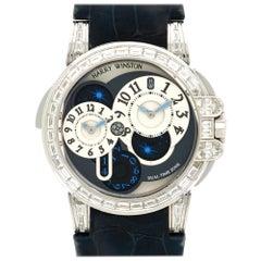 Harry Winston White Gold Diamond Ocean Dual Time Wristwatch