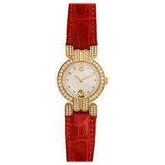Harry Winston Yellow Gold Diamond Red Alligator Wristwatch