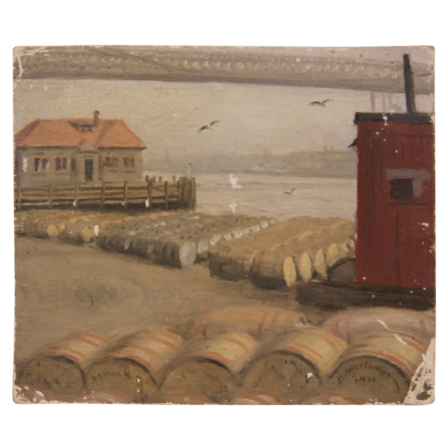 """Barrels"" Naturalistic Early Seascape Painting"