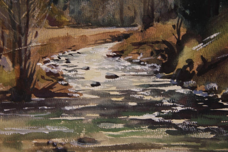 Untitled Mountain River Naturalistic Landscape Painting - Brown Landscape Art by Harry Worthman