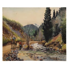 Untitled Mountain River Naturalistic Landscape Painting
