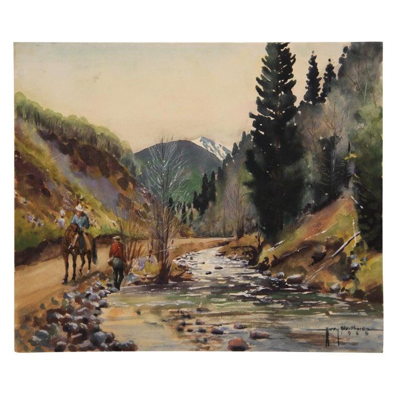 Harry Worthman Landscape Art - Untitled Mountain River Naturalistic Landscape Painting