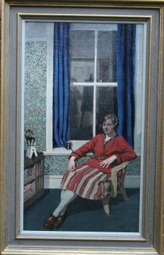 The Blue Curtain - Marion Yearsley seated portrait 1920's interior radio oil