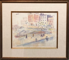 WPA New York Artist Watercolor Painting Manhattan Park Scene