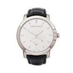 Harrywinston Midnight Retrograde 18k White Gold Midars42WW001 Wristwatch