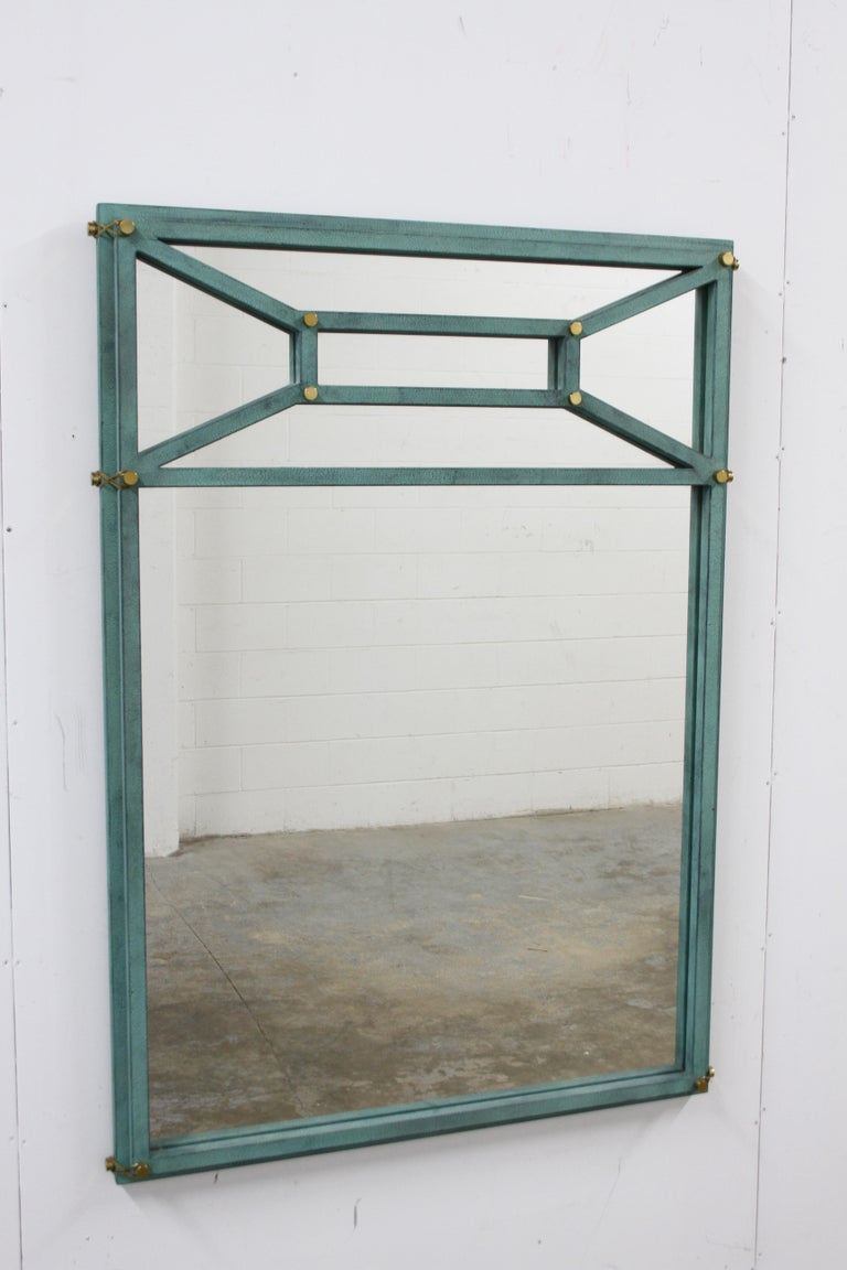 Large Hart Associates post modern Directoire style mirror with teal color paint and brass hardware. Very heavy !! In fine condition, no issues. Hart Associates, is no longer in business, they made high end lighting and furniture.