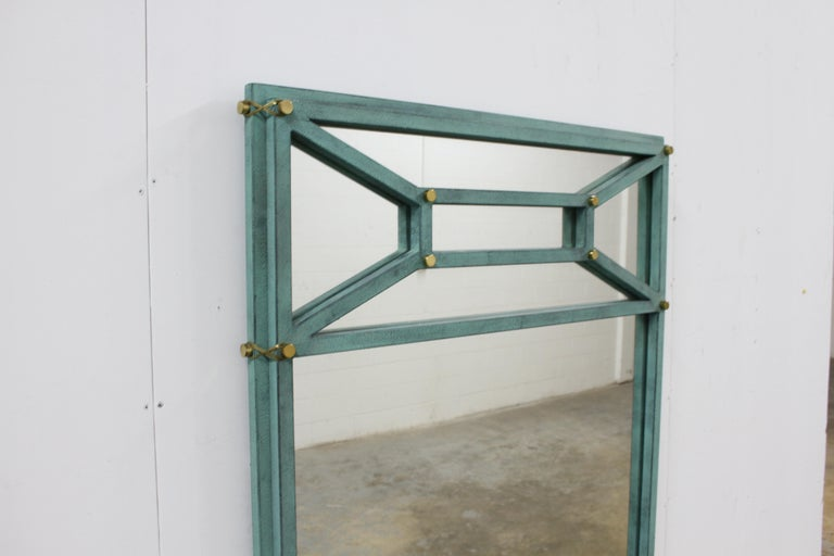 Hollywood Regency Hart Associates 1980s Post Modern Directoire Style Teal & Brass Wall Mirror For Sale