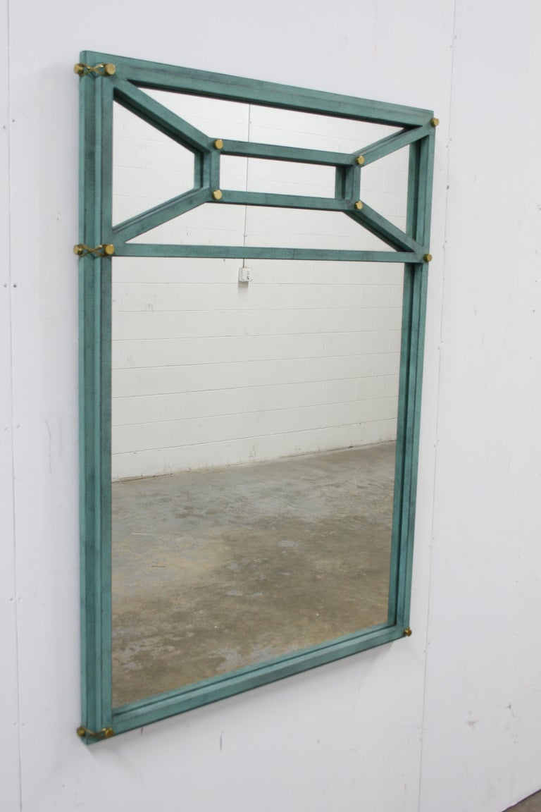 American Hart Associates 1980s Post Modern Directoire Style Teal & Brass Wall Mirror For Sale