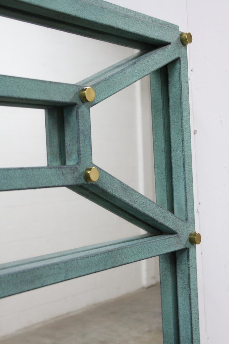 Hart Associates 1980s Post Modern Directoire Style Teal & Brass Wall Mirror In Good Condition For Sale In St. Louis, MO