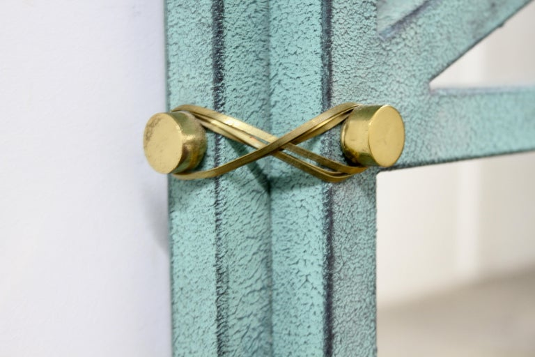 Late 20th Century Hart Associates 1980s Post Modern Directoire Style Teal & Brass Wall Mirror For Sale