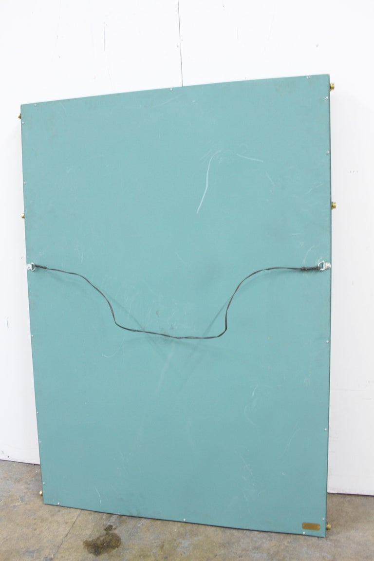Hart Associates 1980s Post Modern Directoire Style Teal & Brass Wall Mirror For Sale 1
