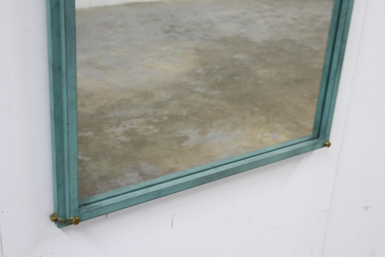 Hart Associates 1980s Post Modern Directoire Style Teal & Brass Wall Mirror For Sale 2