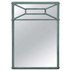 Hart Associates 1980s Post Modern Directoire Style Teal & Brass Wall Mirror