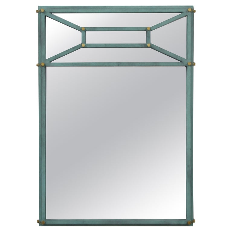 Hart Associates 1980s Post Modern Directoire Style Teal & Brass Wall Mirror For Sale
