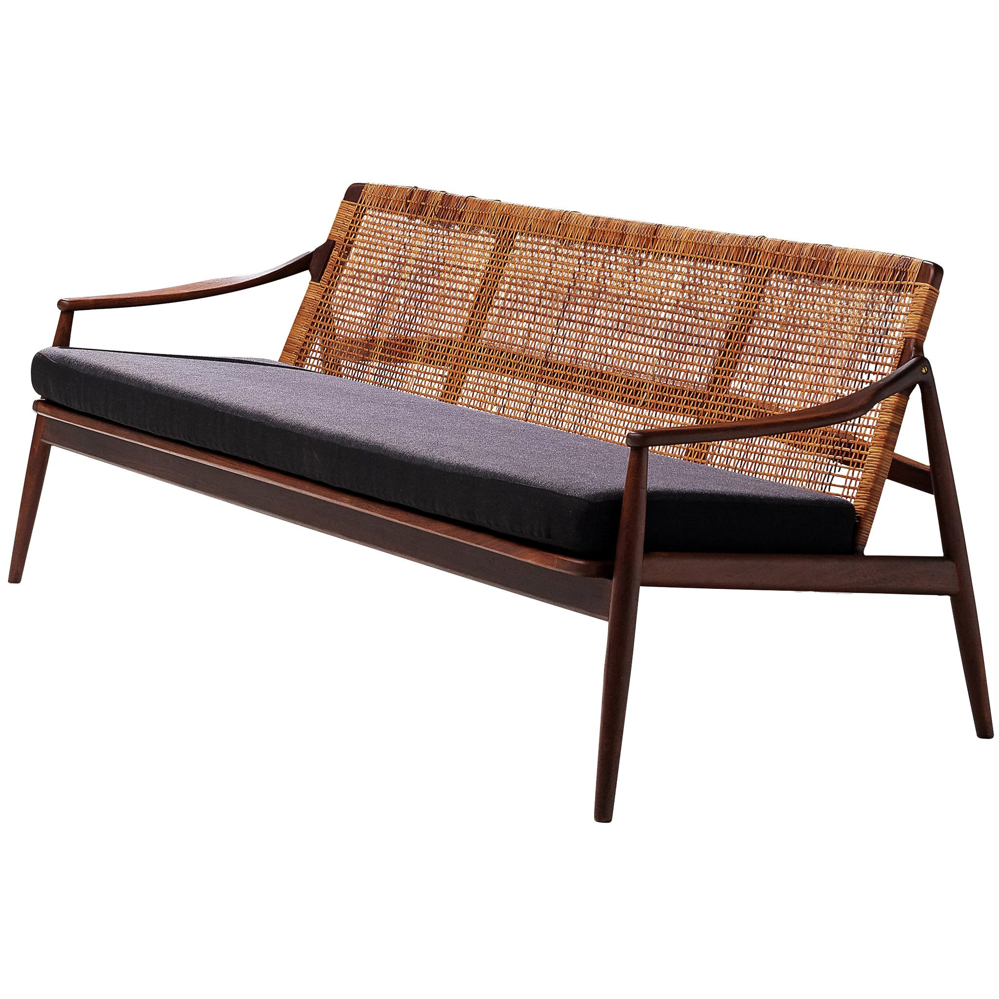 Hartmut Lohmeyer Three-Seat Sofa in Teak and Rattan