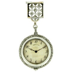 Hartog Antique Art Deco Platinum and Diamond Pocket Watch Brooch, circa 1910