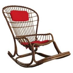 Haruki Miyagima for Bonacina Italian Midcentuty Rattan Rocking Chair, 1960s