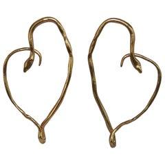 Harumi Klossowska de Rola for Goossens Paris Heart Snake Earrings