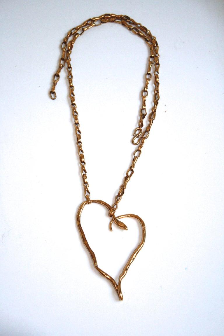 Harumi Klossowska de Rola for Goossens Paris Heart Snake Necklace In New Condition For Sale In Virginia Beach, VA