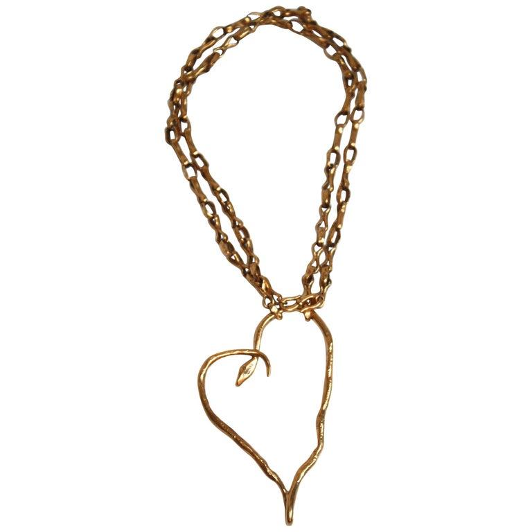 Harumi Klossowska de Rola for Goossens Paris Heart Snake Necklace For Sale