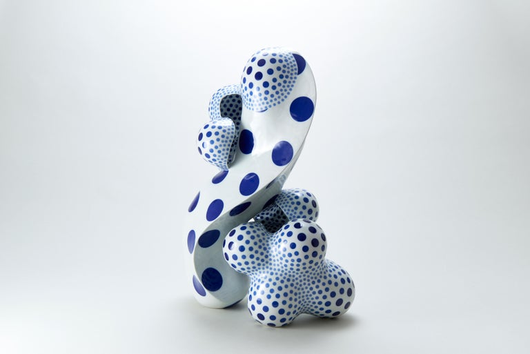 Harumi Nakashima Abstract Sculpture - A Disclosing Form 1610, Avant Garde Abstract Porcelain Sculpture with Glaze