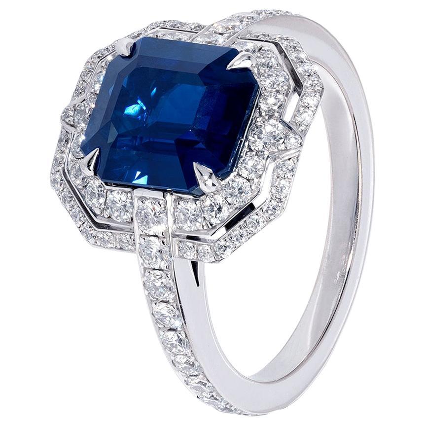 Certified 3.63 Carat No Heat Emerald Cut Sapphire Diamond Art Deco Style Ring