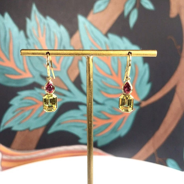 Contemporary Haruni Pear Shape Ruby and Yellow Emerald Cut Sapphire Drop Earrings For Sale